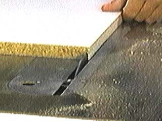 By lowering the sawblade to just over half the panel's thickness, the ...